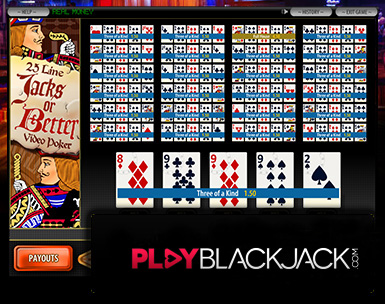 Play Online Jacks or Better 25 Line Video Poker for Free at PlayBlackjack.com