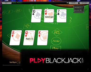 Play Online Three Card Poker for Free at PlayBlackjack.com