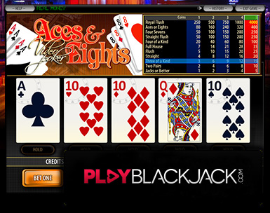 Aces and Eights Video Poker for Free at PlayBlackjack.com